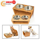 Premium Elevated Dog Cat Feeder Double Bowl Raised Two Stainless Steel Bowls