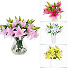 Lily Artificial Fake Flowers Plants Bouquet Bridal Party Home Decor Simulation