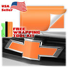 "*2pcs 5""x10"" Matte Chevy Emblem Bowtie Back Front Vinyl Wrap Decal Overlay Sheet"