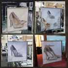 Silver London stiletto/heels with crushed glass,crystals & mirror/black pictures