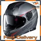 Nolan N87 Rapid N-Com Full Face Motorcycle Motorbike Helmet - Matt Grey/Red