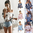 Fashion Women Summer Loose Casual Off Shoulder Shirt Crop Tops Blouse Ladies Top