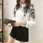 Elegant Korean Women Chiffon Shirt Long Sleeve Lace Collar Career OL Blouse Tops