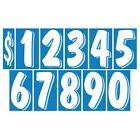 7 1/2 Inch Blue & White Numbers Windshield Pricing Stickers Car Dealer You Pick