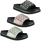 Womens Ladies Plarform Slip On Sliders Studded Flats Shoes Slides Slippers Size