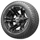 """12"""" RHOX RX331 Black Golf Cart Wheels and Low Profile Tires Combo Set of 4"""