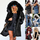 Roiii Womens Plus Size Faux Fur Parka Hooded Fur Lining Thic