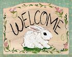 Welcome Folk Art Bunny Rabbit Rose Country  Art Print Made in USA
