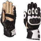 Buffalo Proton Mens Black White Leather Sport Motorcycle Gloves New