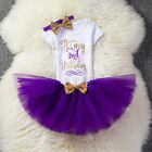 It's My Little Girl 2nd Birthday Dress Outfits Romper Tutu Party Clothing Sets