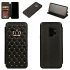 Luxury Crown Leather Flip Stand Bling Wallet Cover Case For Samsung Note 8/S9+