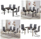 Transparent Dining Table and Chairs Distressed Leather Grey Chrome Kitchen Set