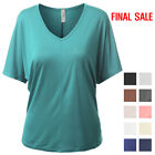 [FINAL SALE]NINEXIS Womens Basic Short Sleeve Loose Fit Deep V-Neck Tees