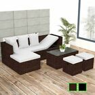 vidaXL Garden Sofa Set Poly Rattan Wicker Corner Couch Furniture Black/Brown