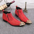 Chic Men Metal Rhinestone High Top Zip Ankle Boots Pointed Toe Shoes Business