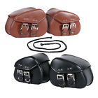 2X Motorcycle PU Leather Side Saddle Bags For Harley Sportster XL Dyna Softail