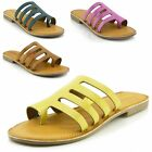 Women's Leather Strappy Sandals Comfort Sole, Multi Colours Available UK3-UK8