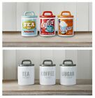 Retro Vintage / Grey Set of 3 Ceramic Tea Coffee Sugar Storage Jars Canisters