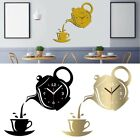 Modern Coffee Cup Design Wall Watch Parede Wall Clock Mirror Effect Home Decor