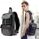 Men's Faux Leather Sling Backpack Chest Pack Single Strap Shoulder Daypack Bag