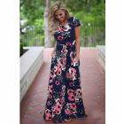 Women Boho Floral Long Maxi Dress Cocktail Party Evening Summer Beach Sundress
