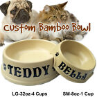 CUSTOM NAME. Bamboo Pet Food Bowls. Pet Feeding Dish. Cat, dog, puppy plate.