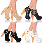 WOMENS LADIES HIGH BLOCK HEEL PLATFORM GOLD BUCKLE CUT OUT ANKLE BOOTS SIZE