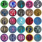 Embroidered Circle Font Name Initial Monogram Iron-On Patch - 30 Fabrics 4 Sizes