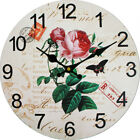 Red Rose Butterfly Wall Clock Rustic Retro Home Kitchen Bar Decor Wooden Gift