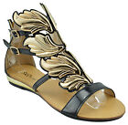 $120 Black Gold HERMES WINGS Fashion Women Shoes Sandals Flats NEW COLLECTION