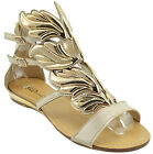 $120 Beige Gold HERMES WINGS Fashion Women Shoes Sandals Flats NEW COLLECTION