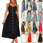 New Women Holiday Strappy Button Pocket Dress Summer Beach Midi Swing Sun Dress