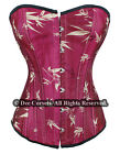 SEXY BURLESQUE MAHOGANY RED SATIN BONED CORSET + A G-STRING SIZE S M
