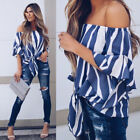 Fashion Women Striped Sleeved Off Shoulder Tops Blouse Loose Casual Clothes US