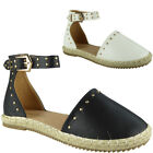 Womens Ladies Ankle Strap Studded Hessian Espadrilles Shoes Sandals Flats Size