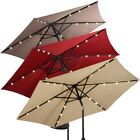 Outdoor Garden Patio Solar Umbrella LED Light Market Steel Tilt Crank Sunscreen