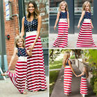 US 4th of July Mother Daughter Matching Clothes Mom Women Girl Summer Long Dress