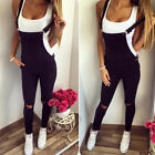 Womens Denim Dungarees Overalls Straps Slim Fit Ripped Jeans Jumpsuit Trousers