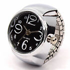 Fashion Unisex Finger Ring Watch Creative Steel Round Dial Elastic Quartz Gift