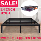 14 inch Tall Metal Platform Bed Frame Steel Slat Twin Full Queen King Size Bed