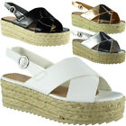 Womens Ladies Buckle Slingback Platform Espadrilles Shoes Wedge Sandals Size