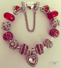 Silver Plated Charm Bracelet Red & Silver Crystal Charms - Gift Boxed