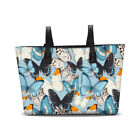 Butterfly Print Women Daily Commute Tote Bag Faux Leather Weekender Bag Handbag