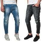 Jeans Uomo Gang Blu Denim Casual Strappi Slim Fit Pantalone Nero Made In Italy