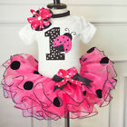 1st Birthday Baby Girl Romper+ Tulle Tutu Skirts Dots Dress
