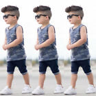 US Stock Baby Boy 2PCS Camo Outfits Vest Tops Shorts Pants Summer Casual Clothes