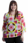 New Womens Plus Size Blouse Ladies Top Abstract Square Print Chiffon Tunic Frill
