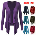 [FINAL SALE]Doublju Womens Long Sleeve Draped Open Front Lightweight Cardigan