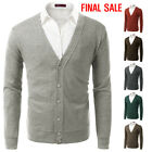[FINAL SALE]Doublju Mens Long Sleeve Lightweight Button-Down Slim Fit Cardigan