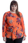 New Womens Plus Size Top Ladies Floral Print Front Tie Blouse Long Sleeve Tunic